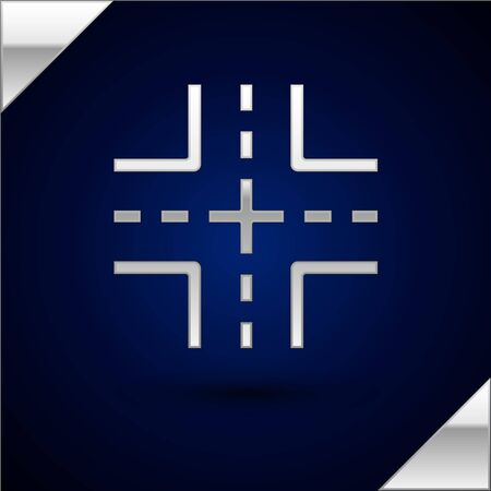 Silver Road traffic sign. Signpost icon isolated on dark blue background. Pointer symbol. Isolated street information sign. Direction sign. Vector Illustration