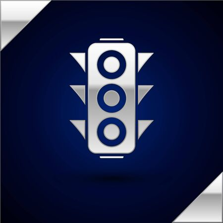 Silver Traffic light icon isolated on dark blue background. Vector Illustration Banque d'images - 132868496