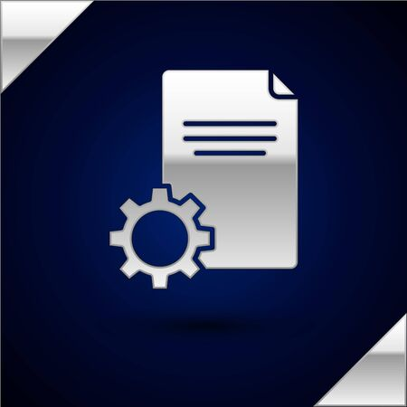 Silver File document icon isolated on dark blue background. Adjusting, service, setting, maintenance, repair, fixing. Vector Illustration