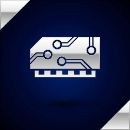 Silberner RAM, Direktzugriffsspeichersymbol auf dunkelblauem Hintergrund isoliert. Vektorillustration Vektorgrafik