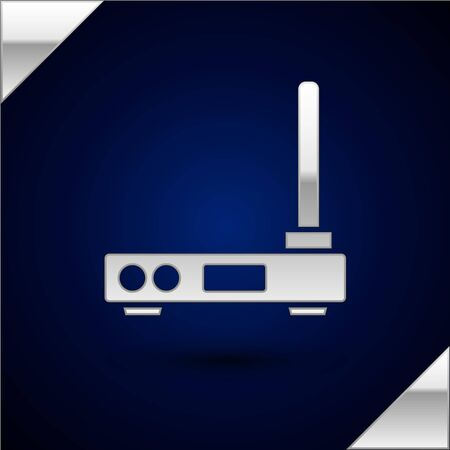 Silver Router and wireless signal symbol icon isolated on dark blue background. Wireless modem router. Computer technology internet. Vector Illustration