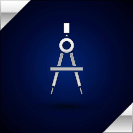 Silver Drawing compass icon isolated on dark blue background. Compasses sign. Drawing and educational tools. Geometric instrument. Vector Illustration