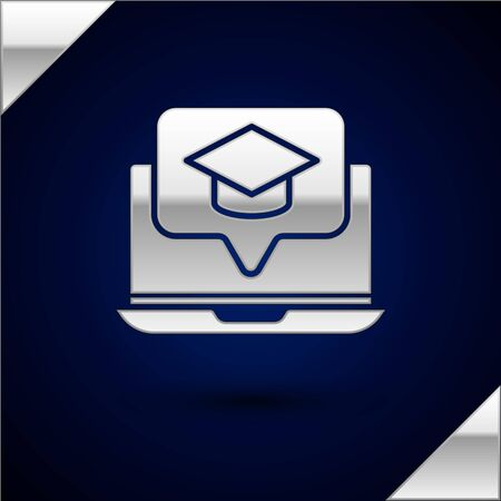 Silver Graduation cap on screen laptop icon isolated on dark blue background. Online learning or e-learning concept. Vector Illustration