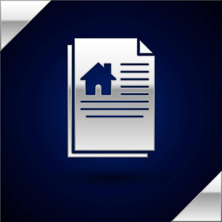 Silver House contract icon isolated on dark blue background. Contract creation service, document formation, application form composition. Vector Illustration
