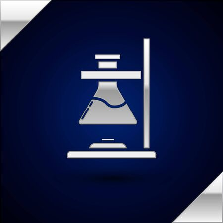 Silver Glass test tube flask on fire heater experiment icon isolated on dark blue background. Laboratory equipment. Vector Illustration