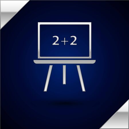 Silver Chalkboard icon isolated on dark blue background. School Blackboard sign. Vector Illustration Illusztráció