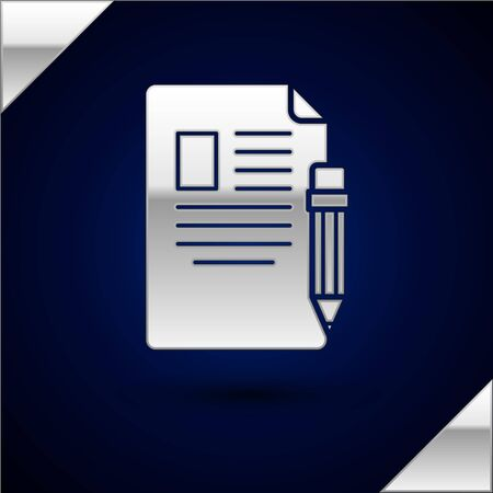 Silver Exam sheet and pencil with eraser icon isolated on dark blue background. Test paper, exam, or survey concept. School test or exam. Vector Illustration