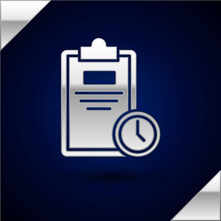 Silver Exam sheet with clock icon isolated on dark blue background. Test paper, exam, or survey concept. School test or exam. Vector Illustration Ilustrace