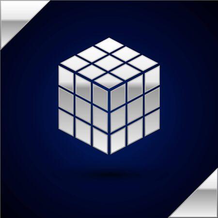 Silver Rubik cube icon isolated on dark blue background. Mechanical puzzle toy. Rubiks cube 3d combination puzzle. Vector Illustration Illusztráció