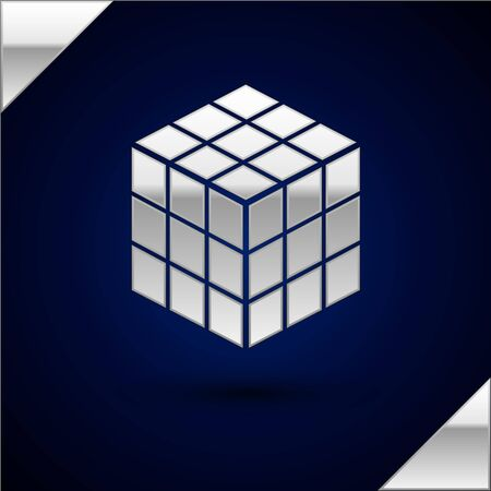 Silver Rubik cube icon isolated on dark blue background. Mechanical puzzle toy. Rubiks cube 3d combination puzzle. Vector Illustration Illustration
