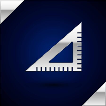 Silver Triangular ruler icon isolated on dark blue background. Straightedge symbol. Geometric symbol. Vector Illustration
