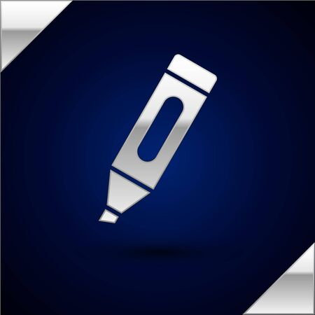 Silver Marker pen icon isolated on dark blue background. Vector Illustration