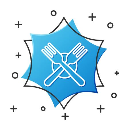 White line Crossed fork icon isolated on white background. Cutlery symbol. Blue hexagon button. Vector Illustration Ilustracja