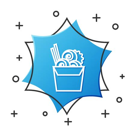 White line Asian noodles in paper box and chopsticks icon isolated on white background. Street fast food menu. Korean, Japanese, Chinese food. Blue hexagon button. Vector Illustration Çizim