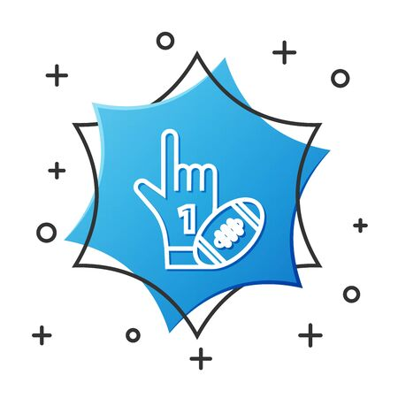 White line Number 1 one fan hand glove with finger raised and american football ball icon isolated on white background. Set of sport equipment. Blue hexagon button. Vector Illustration Çizim