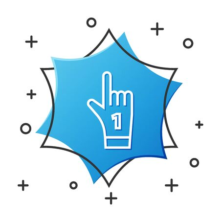 White line Number 1 one fan hand glove with finger raised icon isolated on white background. Symbol of team support in competitions. Blue hexagon button. Vector Illustration