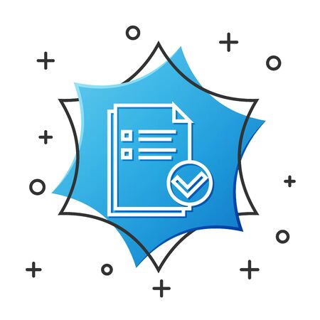 White line Document and check mark icon isolated on white background. Checklist icon. Business concept. Blue hexagon button. Vector Illustration
