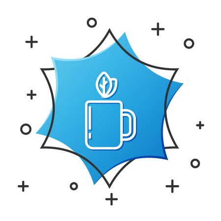 White line Cup of tea and leaf icon isolated on white background. Blue hexagon button. Vector Illustration Ilustracja