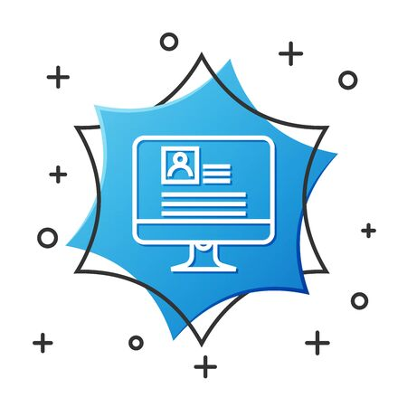 White line Computer monitor with resume icon isolated on white background. CV application. Searching professional staff. Analyzing personnel resume. Blue hexagon button. Vector Illustration