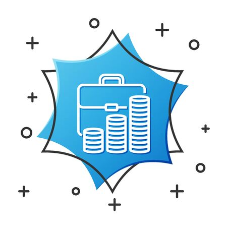 White line Briefcase and coin icon isolated on white background. Business case sign. Business portfolio. Blue hexagon button. Vector Illustration