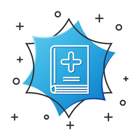 White line Medical book icon isolated on white background. Blue hexagon button. Vector Illustration Vektoros illusztráció