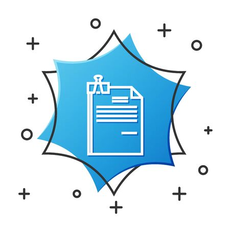 White line File document and binder clip icon isolated on white background. Checklist icon. Business concept. Blue hexagon button. Vector Illustration