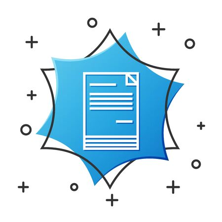 White line Document icon isolated on white background. File icon. Checklist icon. Business concept. Blue hexagon button. Vector Illustration Ilustrace