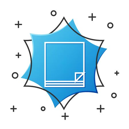 White line File document icon isolated on white background. Checklist icon. Business concept. Blue hexagon button. Vector Illustration Ilustrace