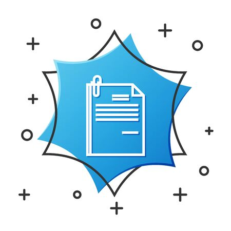 White line File document and paper clip icon isolated on white background. Checklist icon. Business concept. Blue hexagon button. Vector Illustration Ilustrace