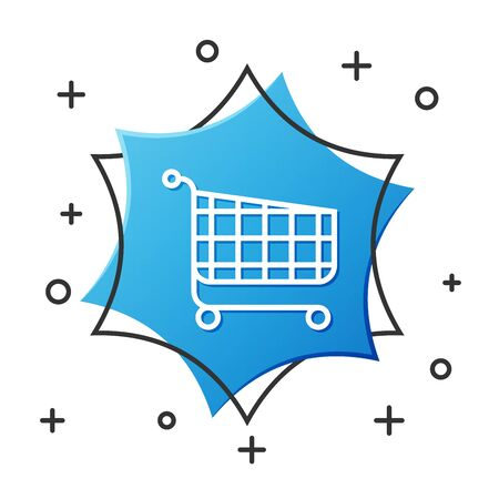 Weiße Linie Einkaufswagen-Symbol auf weißem Hintergrund. Online-Kaufkonzept. Lieferservice-Zeichen. Supermarkt-Korb-Symbol. Blauer Sechskantknopf. Vektorillustration Vektorgrafik