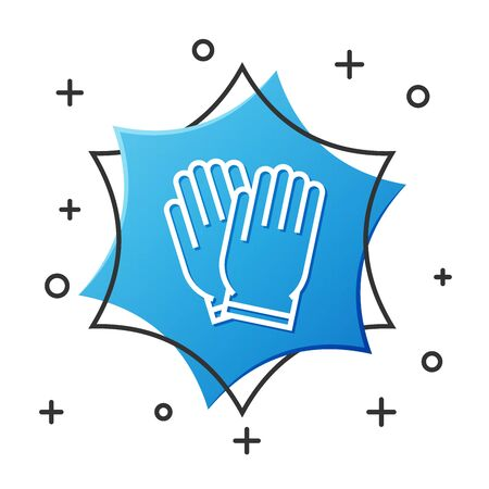 White line Garden gloves icon isolated on white background. Rubber gauntlets sign. Farming hand protection, gloves safety. Blue hexagon button. Vector Illustration