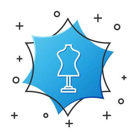 White line Mannequin icon isolated on white background. Tailor dummy. Blue hexagon button. Vector Illustration Illustration