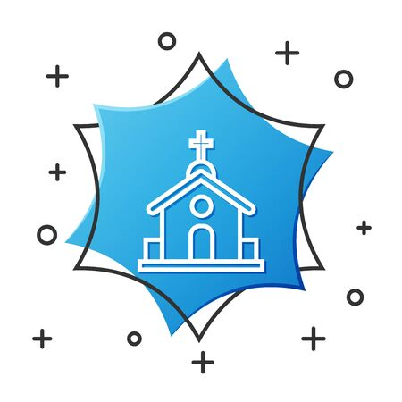 White line Church building icon isolated on white background. Christian Church. Religion of church. Blue hexagon button. Vector Illustration