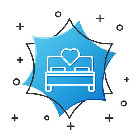 White line Bedroom icon isolated on white background. Wedding, love, marriage symbol. Bedroom creative icon from honeymoon collection. Blue hexagon button. Vector Illustration