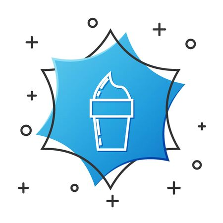 White line Ice cream in waffle cone icon isolated on white background. Sweet symbol. Blue hexagon button. Vector Illustration