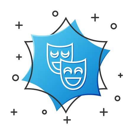 White line Comedy theatrical masks icon isolated on white background. Blue hexagon button. Vector Illustration
