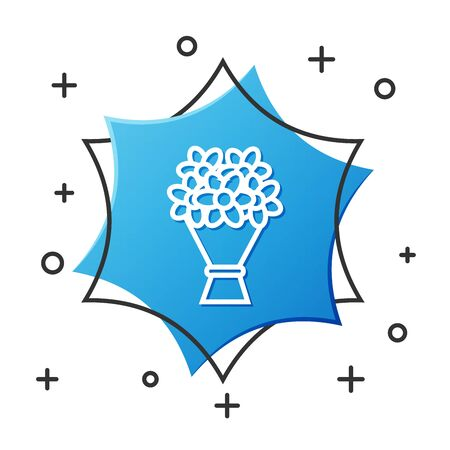 White line Bouquet of flowers icon isolated on white background. Blue hexagon button. Vector Illustration Illustration
