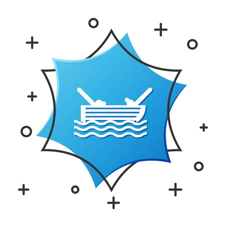 White line Fishing boat with fishing rod on water icon isolated on white background. Blue hexagon button. Vector Illustration