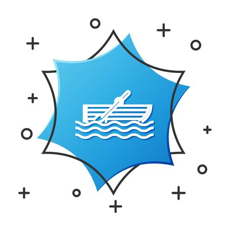 White line Fishing boat with oars on water icon isolated on white background. Blue hexagon button. Vector Illustration