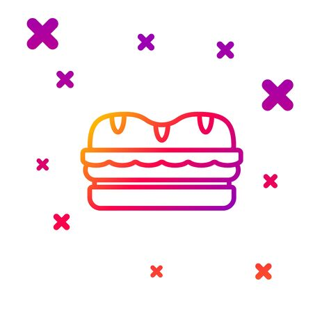 Color line Sandwich icon isolated on white background. Hamburger icon. Burger food symbol. Cheeseburger sign. Street fast food menu. Gradient random dynamic shapes. Vector Illustration Ilustrace