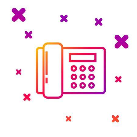 Color line Telephone icon isolated on white background. Landline phone. Gradient random dynamic shapes. Vector Illustration