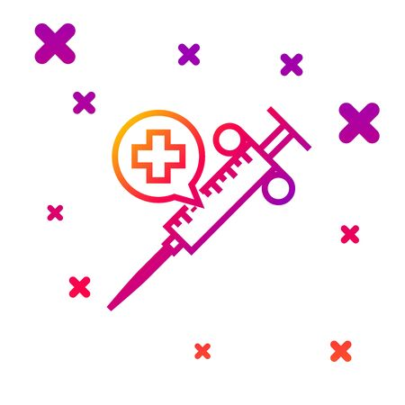 Color line Medical syringe with needle icon isolated on white background. Vaccination, injection, vaccine, insulin concept. Gradient random dynamic shapes. Vector Illustration