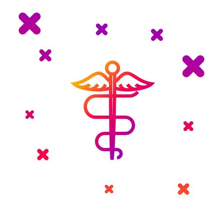 Color line Caduceus snake medical symbol icon isolated on white background. Medicine and health care. Emblem for drugstore or medicine, pharmacy. Gradient random dynamic shapes. Vector Illustration