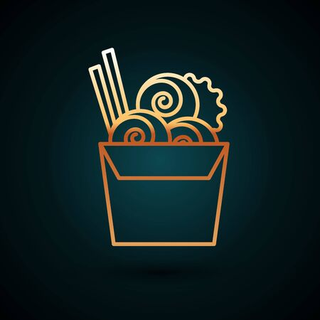 Gold line Asian noodles in paper box and chopsticks icon isolated on dark blue background. Street fast food menu. Korean, Japanese, Chinese food. Vector Illustration