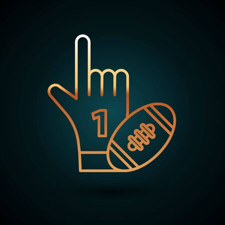 Gold line Number 1 one fan hand glove with finger raised and american football ball icon isolated on dark blue background. Set of sport equipment. Vector Illustration Çizim
