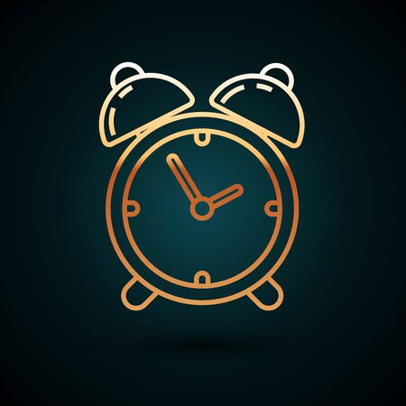 Gold line Alarm clock icon isolated on dark blue background. Wake up, get up concept. Time sign. Vector Illustration