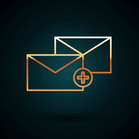 Gold line Envelope icon isolated on dark blue background. Received message concept. New, email incoming message, sms. Mail delivery service. Vector Illustration