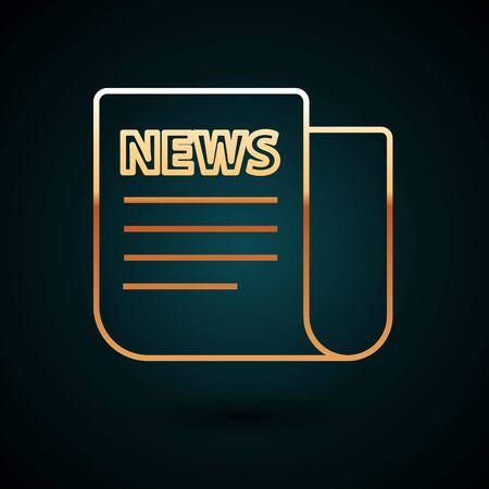 Gold line News icon isolated on dark blue background. Newspaper sign. Mass media symbol. Vector Illustration 向量圖像