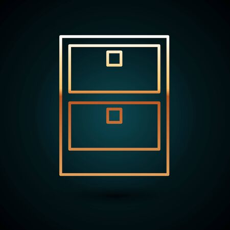 Gold line Archive papers drawer icon isolated on dark blue background. Drawer with documents. File cabinet drawer. Office furniture. Vector Illustration Stock Illustratie