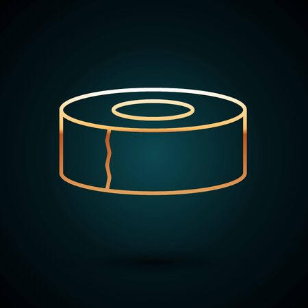 Gold line Scotch icon isolated on dark blue background. Roll of adhesive tape for work and repair. Sticky packing tape. Office tool and stuff. Vector Illustration